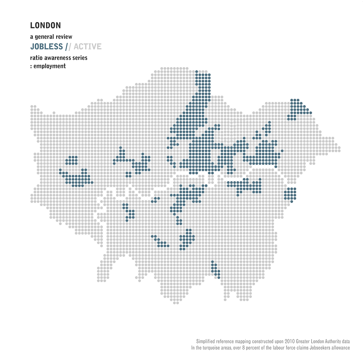 London Plan Active Jobless Jobseekers Allowance Map 2010